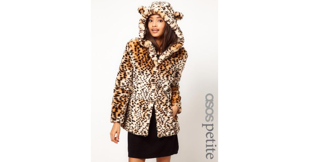 e1532ed99cf1d Lyst - ASOS Leopard Print Coat with Ears