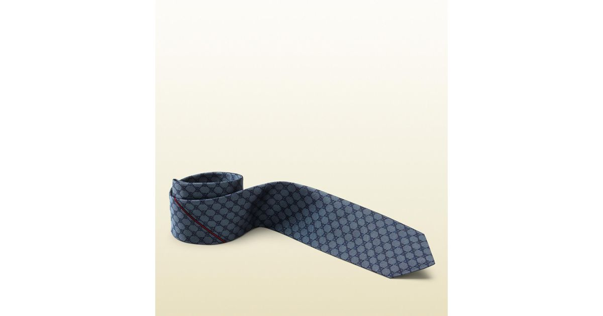 b05a2900739 Lyst - Gucci Gg Pattern Tie With Web Detail in Blue for Men