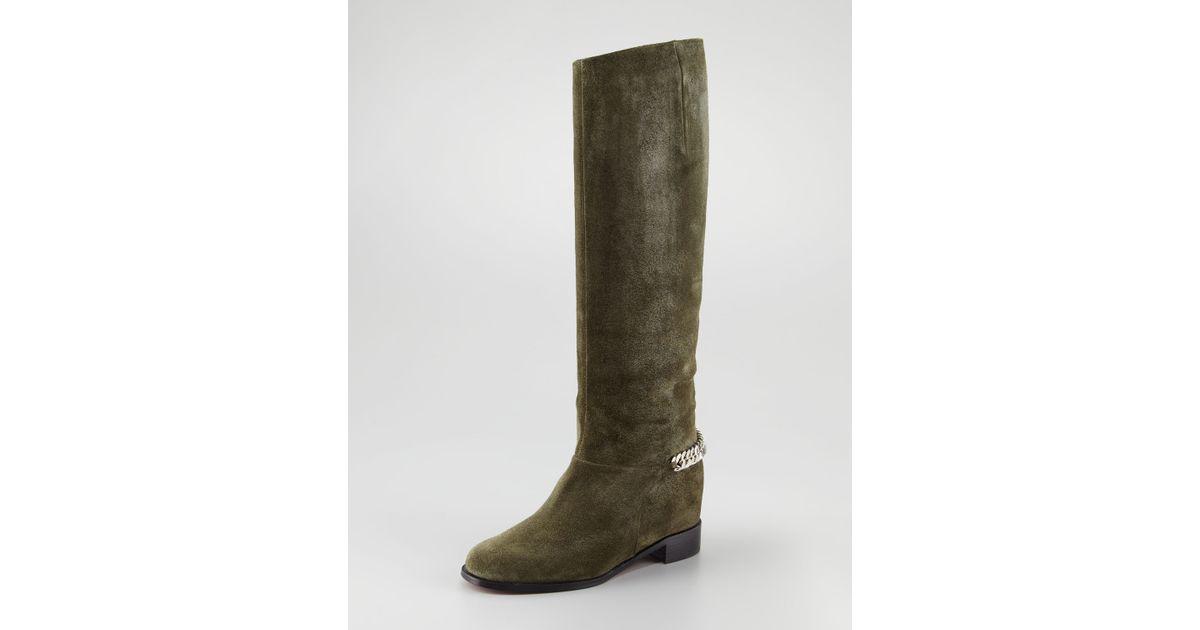 7121e490543 closeout louboutin flat boot suede afa3f 15f17