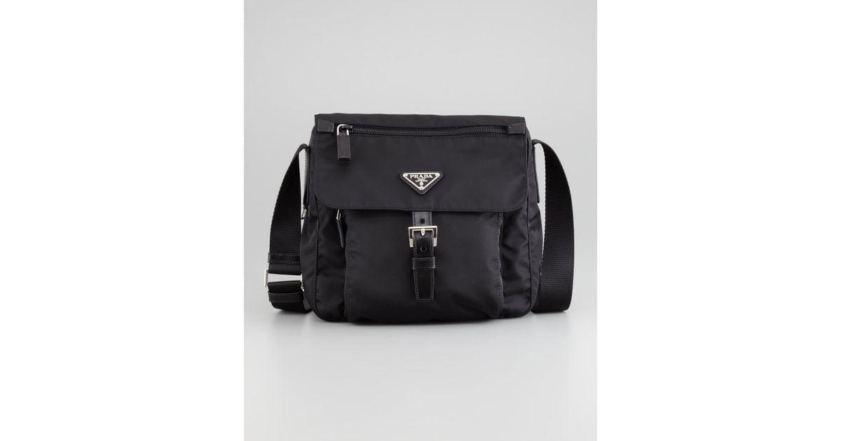 prada black and white wallet - Prada Vela Nylon Messenger Bag Black in Black | Lyst