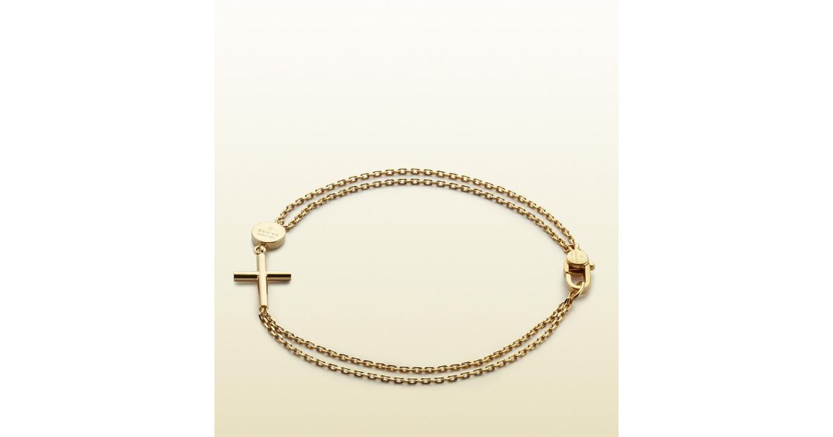 Lyst Gucci Bracelet With Cross And Trademark Engraved Tag In Metallic For Men