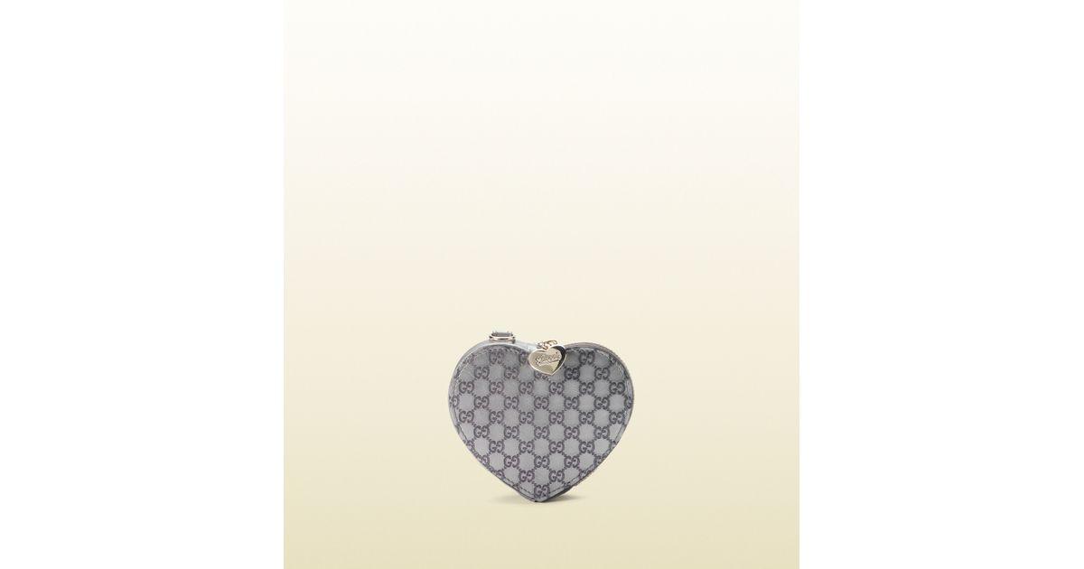3016df50da29 Lyst - Gucci Red Microguccissima Leather Heartshaped Coin Purse in Gray