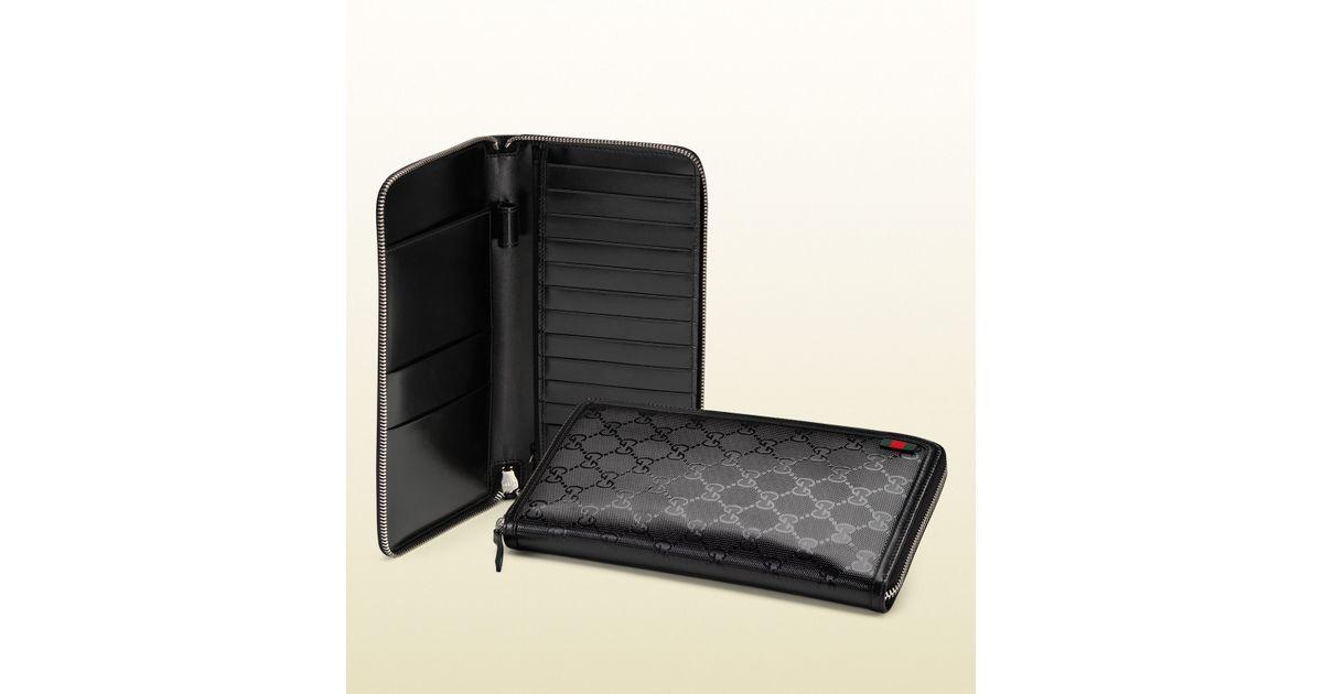 964a70a29fc59b Gucci Gg Imprimé Card Case Travel Document Case in Black for Men - Lyst