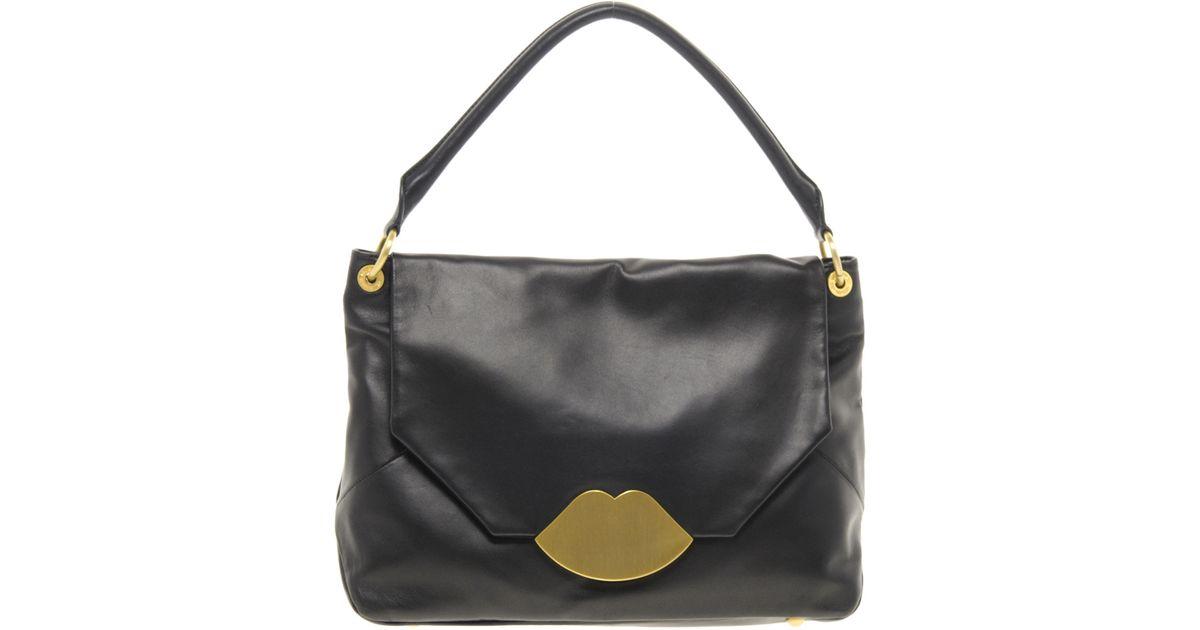 Lyst - Lulu Guinness Medium Nicola Bag in Black 2401fcad48361