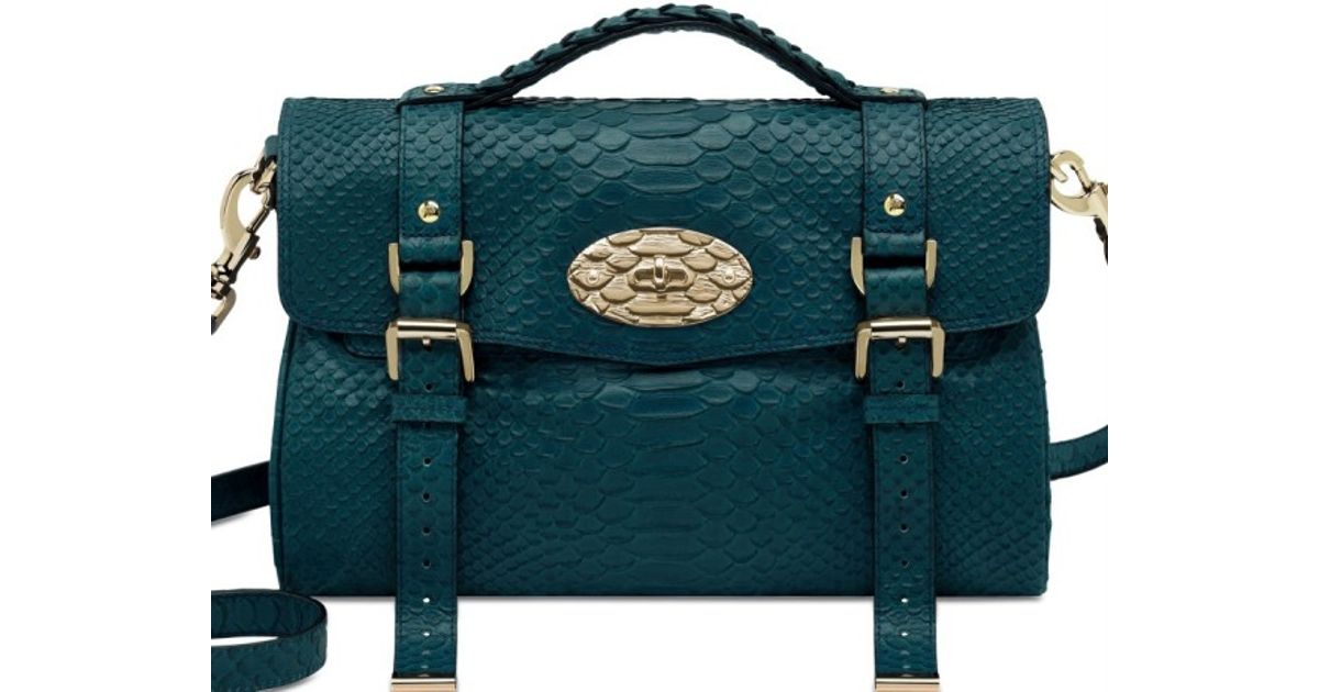 ... amazon lyst mulberry medium alexa silky snake print bag in blue 023d7  15632 ... c05af8bec1a3f