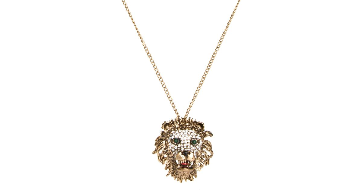 Lyst river island diam lions head pendant in yellow aloadofball Choice Image