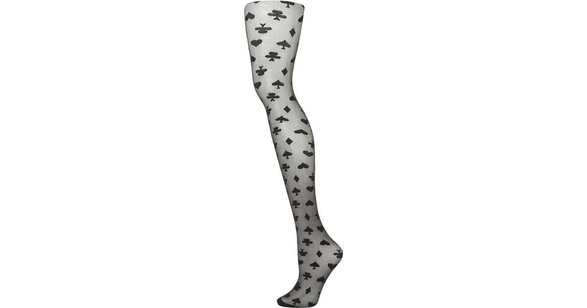 cf5c3717257 Lyst - TOPSHOP Black Playing Cards Tights in Black