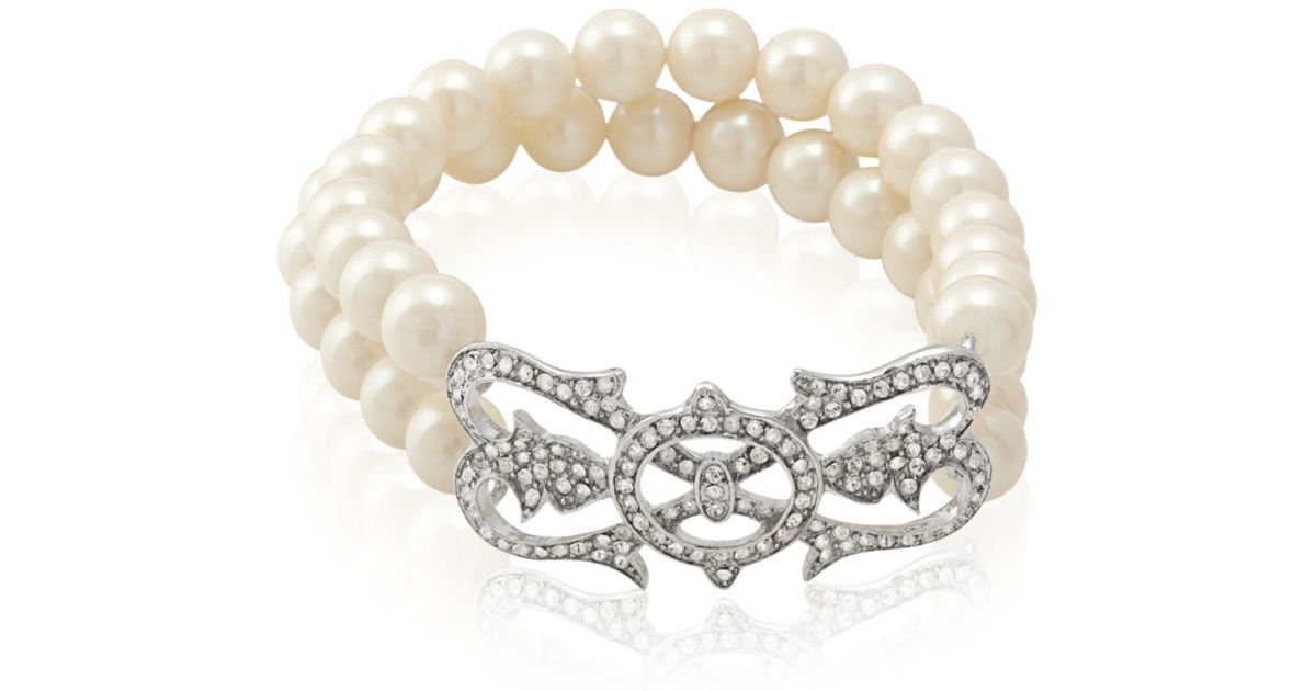 e86be952a7 Lyst - Carolee Silver Tone Doublerow Stretch Bracelet Limited Edition in  Metallic