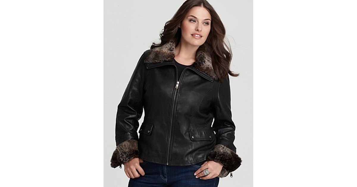 d4d4b8dbc252c Lyst Marc New York Plus Size Leather Jacket With Rabbit Fur Collar