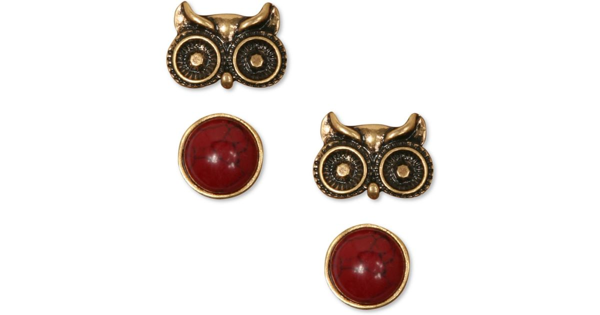 Lyst Lucky Brand Owl And Semiprecious Reconsuted Calcite Red Stud Earrings In