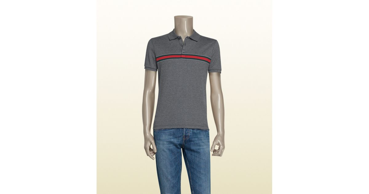 bfedaa06b Gucci Grey Cotton Jersey Polo With Web Print in Gray for Men - Lyst