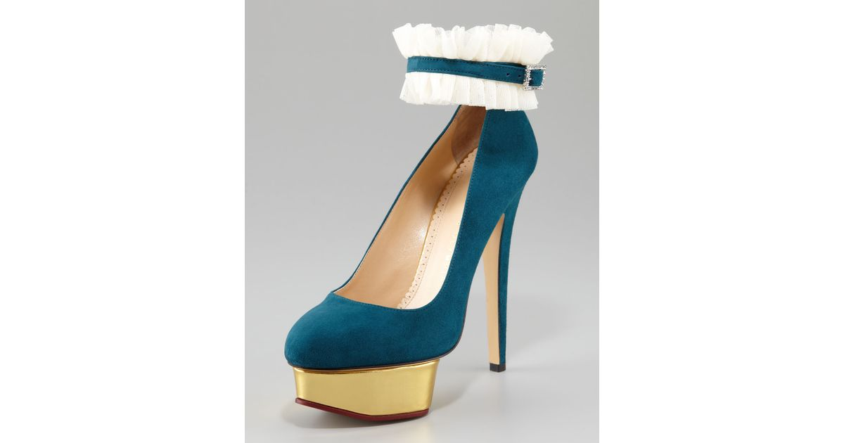 419f2d1197 Lyst - Charlotte Olympia Dolly Island Suede Platform Pump Teal in Blue