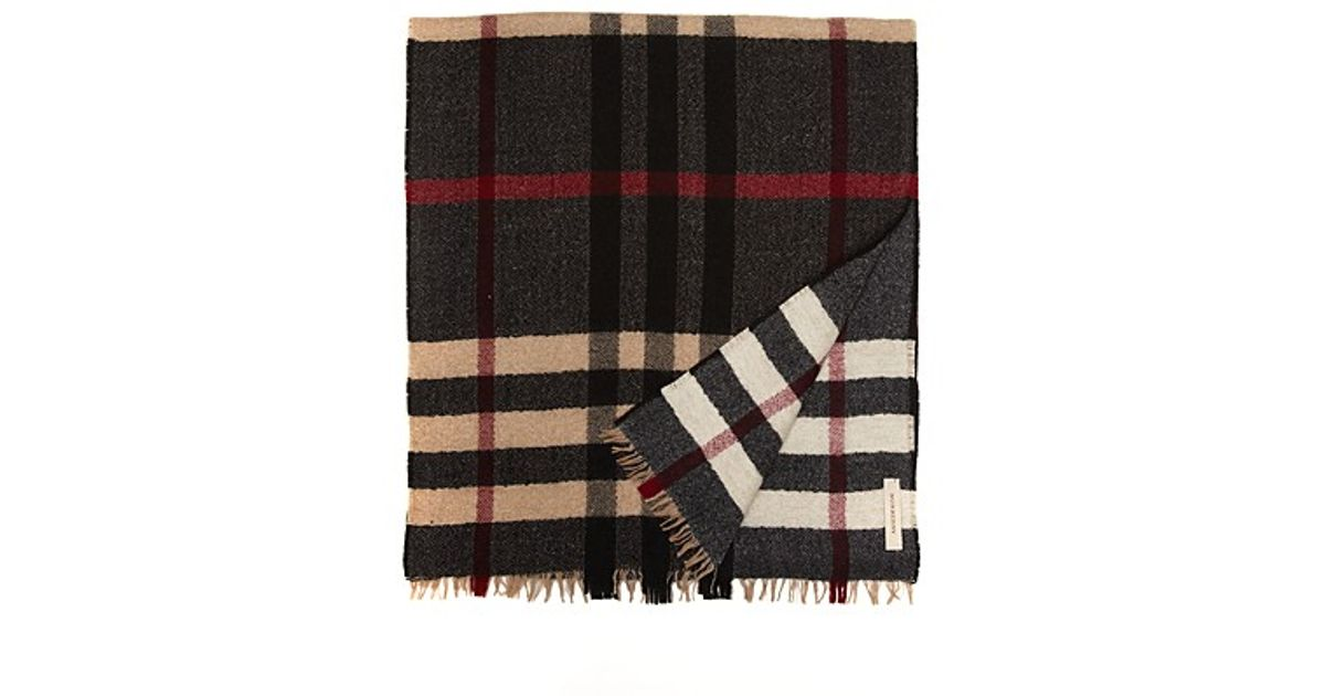 65ef249abdf Lyst - Burberry Reversible Check Wool Scarf in White for Men