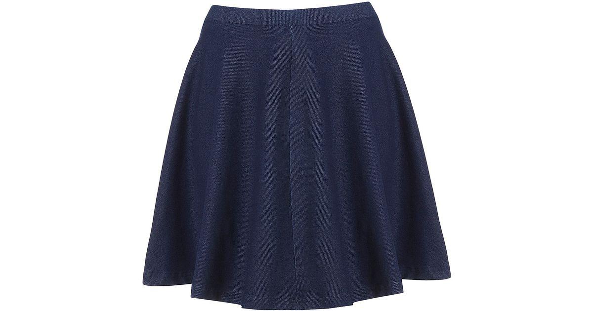 e167d05f0aff TOPSHOP Dark Denim Skater Skirt in Blue - Lyst