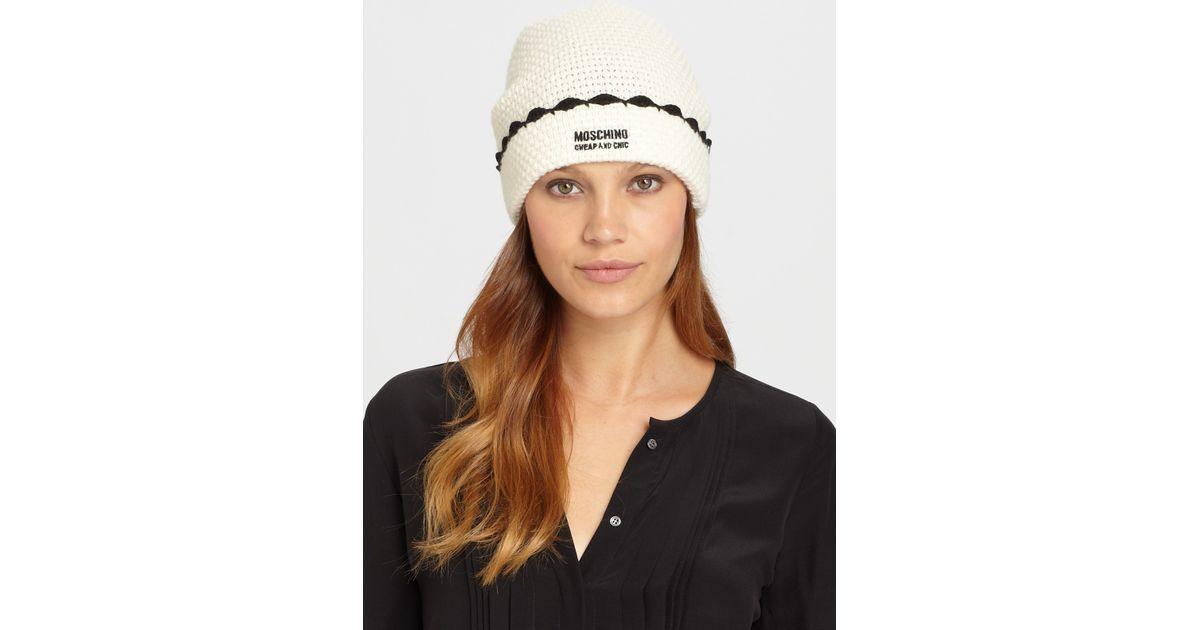 fa882aec803 Lyst - Moschino Crochet Gipsy Hat in White