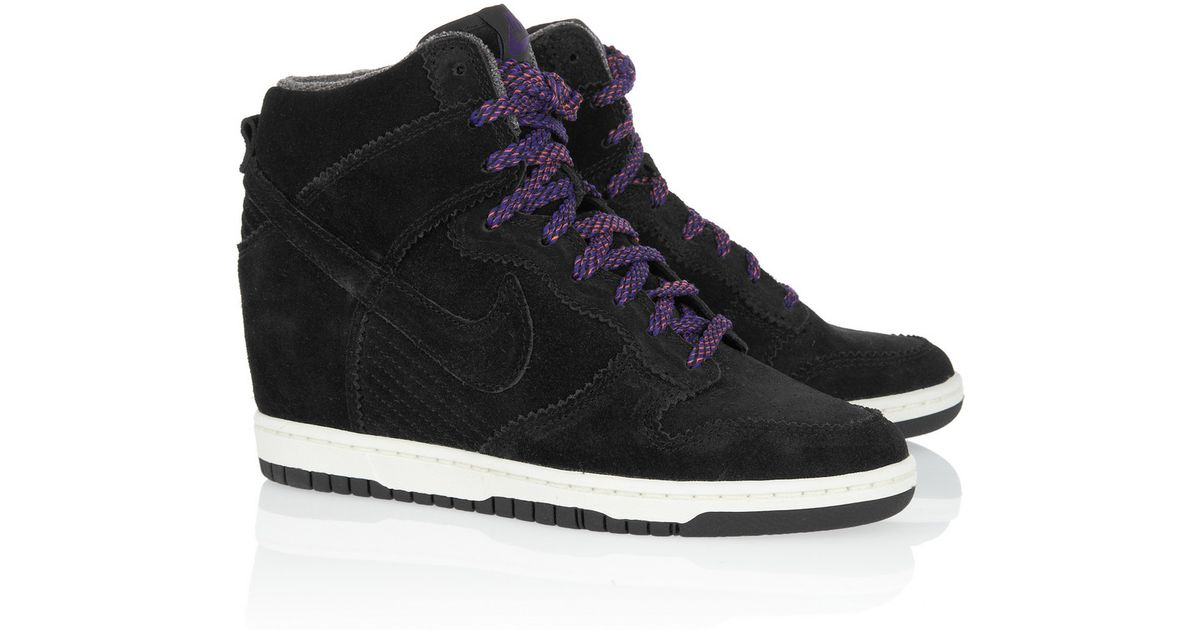 Lyst - Nike Dunk Sky Hi Suede Wedge Sneakers in Black