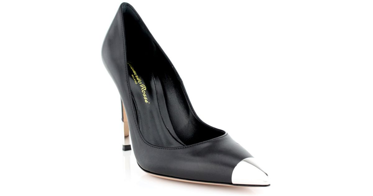 Lyst - Gianvito Rossi Metal Cap Toe Pump in Black