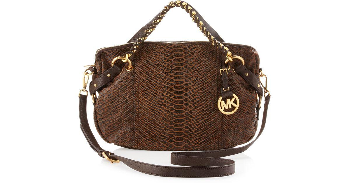 ... official lyst michael kors medium tristan python embossed satchel in  brown e2eac 4f9db ... 90518e4d6b0ef
