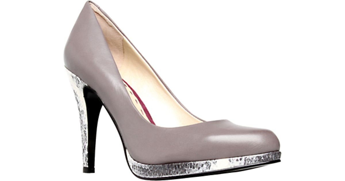 772097a002f Nine West Nine West Rocha Leather Metallic Heel Court Shoes Mid Grey in Gray  - Lyst