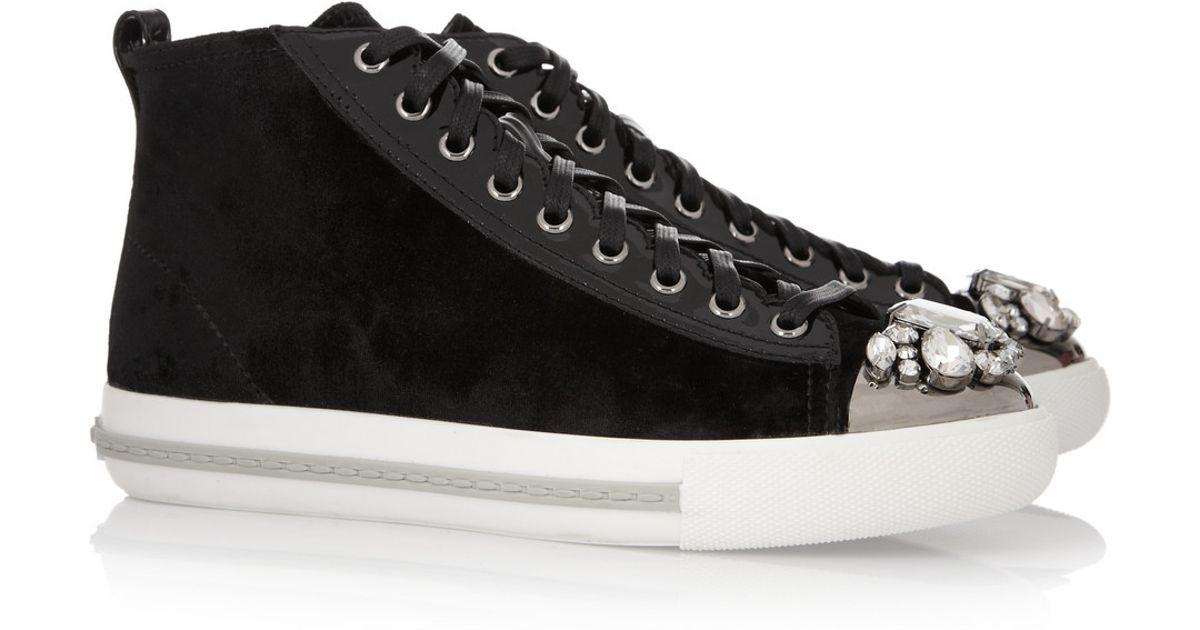 91fde9a6edd3 Lyst - Miu Miu Velvet Hightop Sneakers in Black