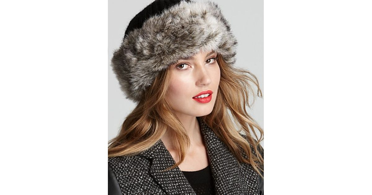 919dced91ee Lyst - Surell Faux Fur Cuff Hat in Black