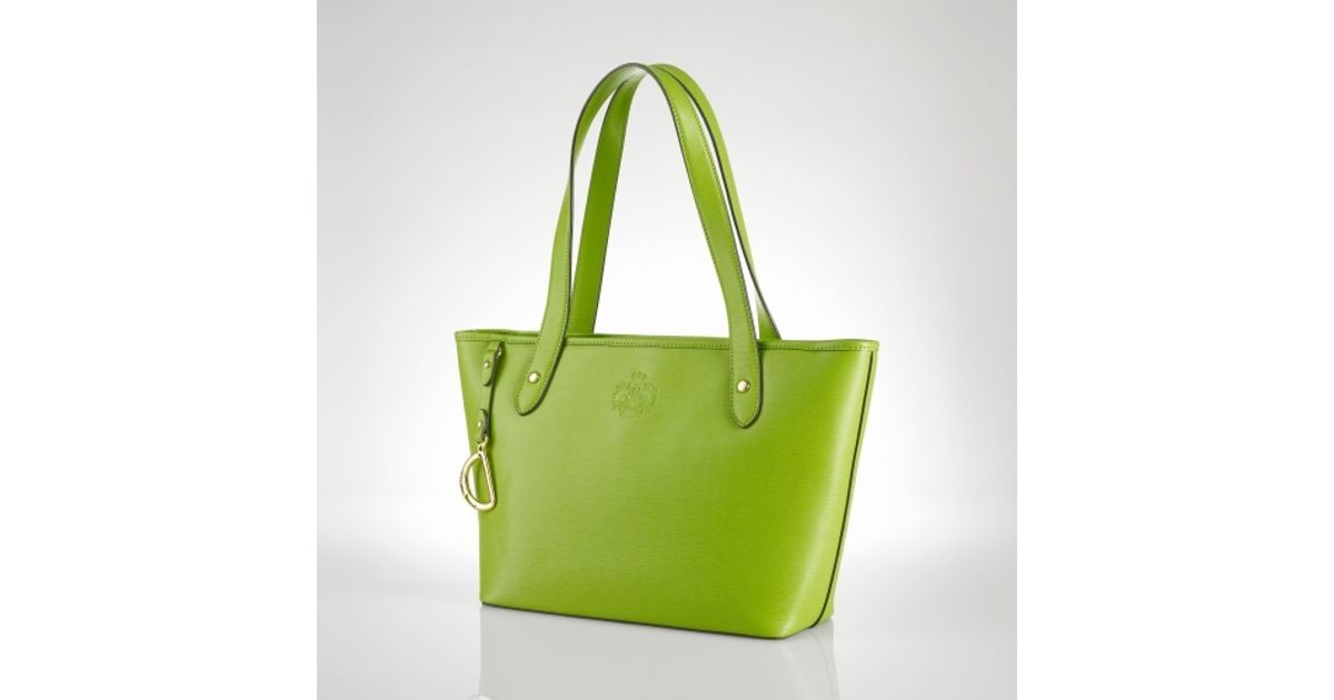 Lauren by ralph lauren Newbury Leather Classic Tote in Green | Lyst