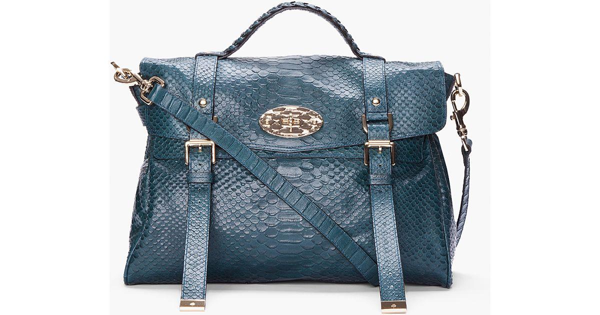 0d43265077e1 Lyst - Mulberry Oversized Alexa Silky Snake Print Bag in Blue