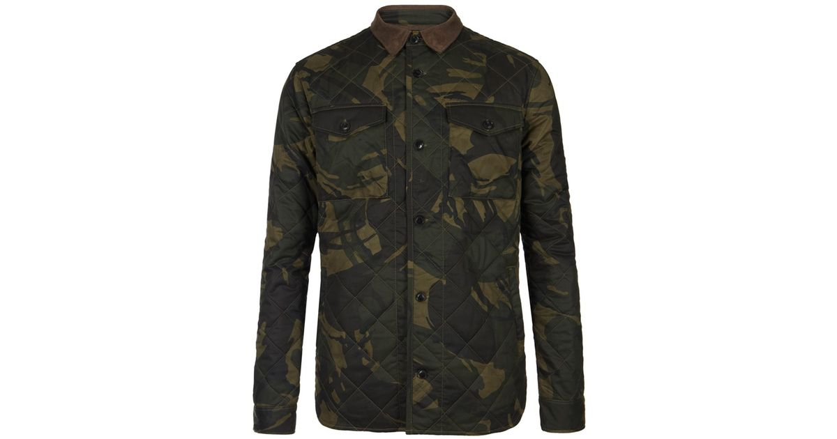 Lyst - AllSaints Barage Quilted Shirt in Green for Men 7d040f09f