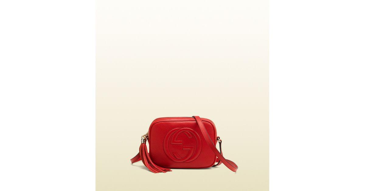 809e1e9f836 Lyst - Gucci Soho Leather Disco Bag in Red
