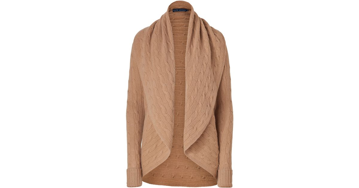 0896622f2 Ralph Lauren Camel Classic Cable Woolcashmere Circle Cardigan in Natural -  Lyst