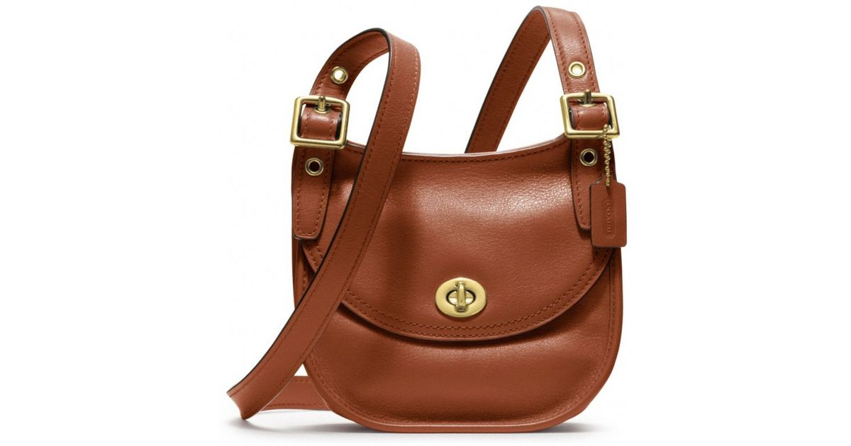 527fed9f1 coupon code for lyst coach legacy leather mini saddle bag in brown dd770  139c8