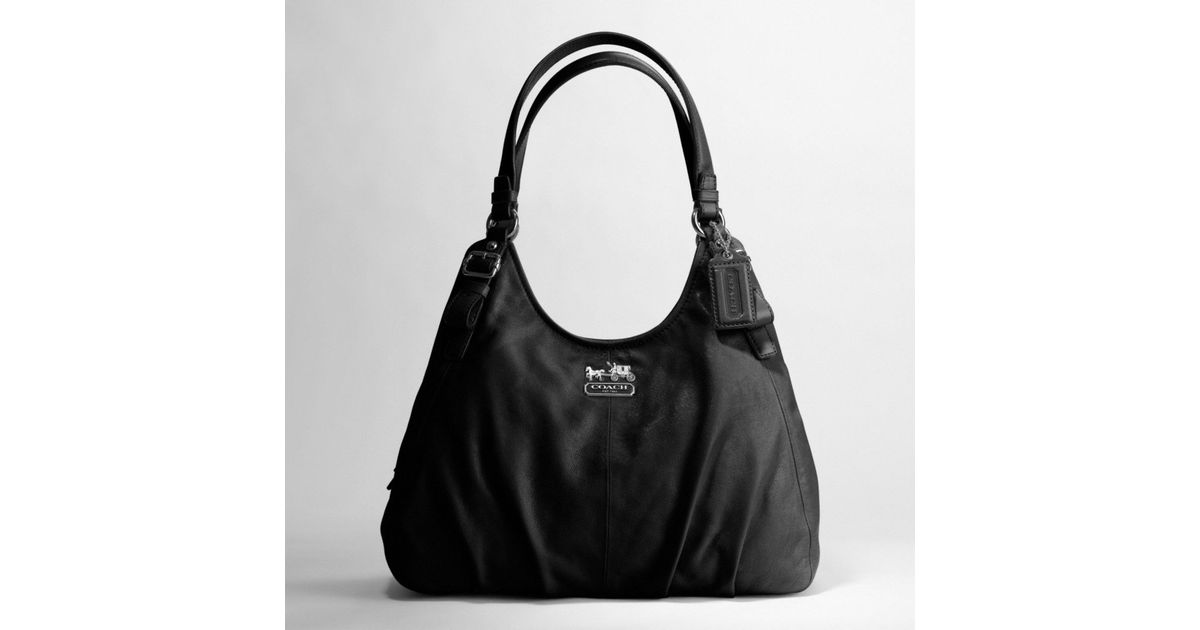 446eb049a0 Lyst - COACH Madison Leather Maggie Shoulder Bag in Black