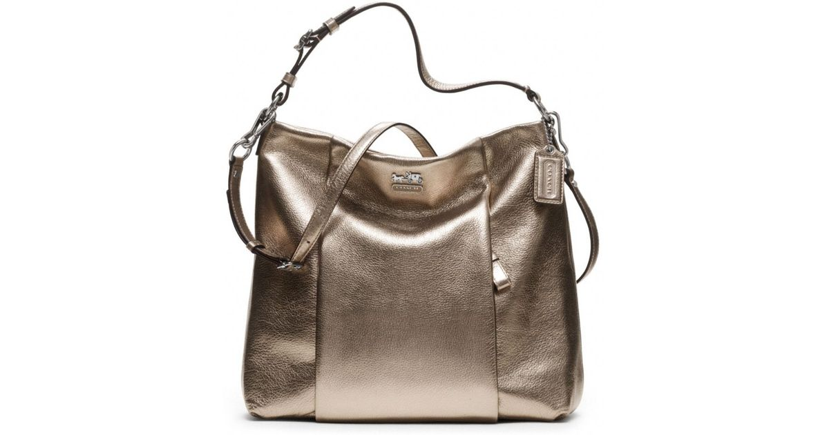 8629b292b89d Lyst - COACH Madison Metallic Leather Isabelle in Metallic