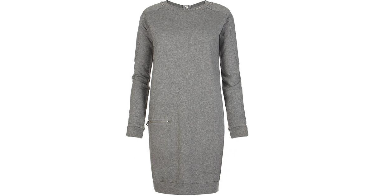 Lyst Allsaints Ridley Sweater Dress In Gray