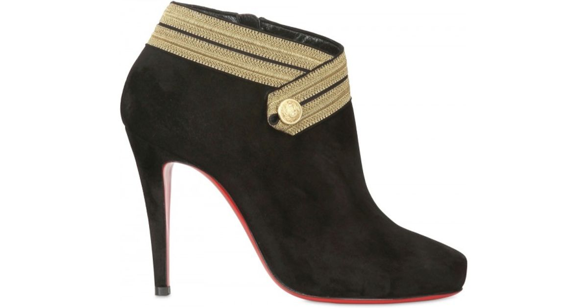 32a7b3afb52 Lyst - Christian Louboutin 100mm Marychal Suede Military Boots in Black