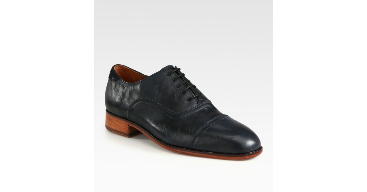3fe42542efb6aa Lyst - Florsheim by Duckie Brown Washed Captoe Leather in Blue for Men