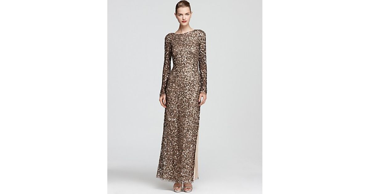 203afbea4 Aidan Mattox Beaded Gown Long Sleeve in Metallic - Lyst