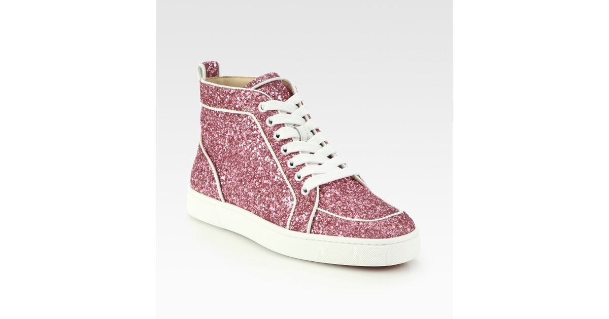 christian louboutin glitter high top sneakers