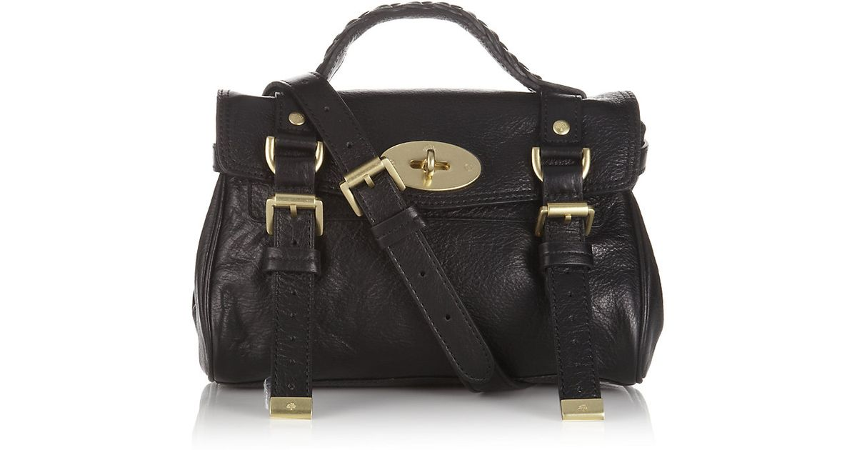 1c7f9d4f1491 ... discount mulberry mini alexa crossbody bag in black lyst f2ec1 1ae91 ...