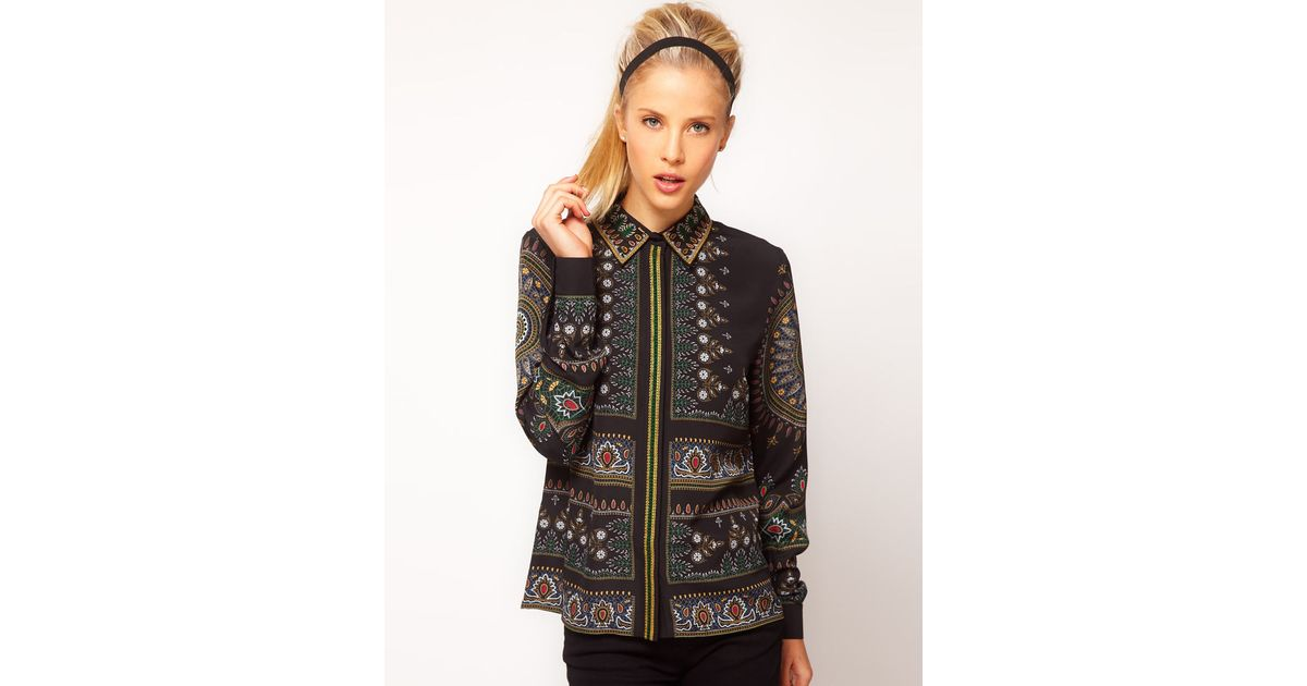Lyst asos collection asos shirt with placement paisley print and