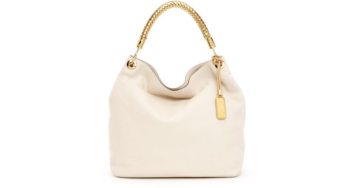 58766762ef05 Lyst - Michael Kors Large Skorpios Textured Leather Shoulder Bag in Metallic
