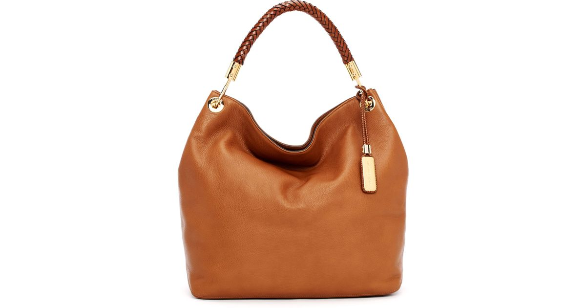 3ce4c3694f5d Lyst - Michael Kors Large Skorpios Textured Leather Shoulder Bag in Brown