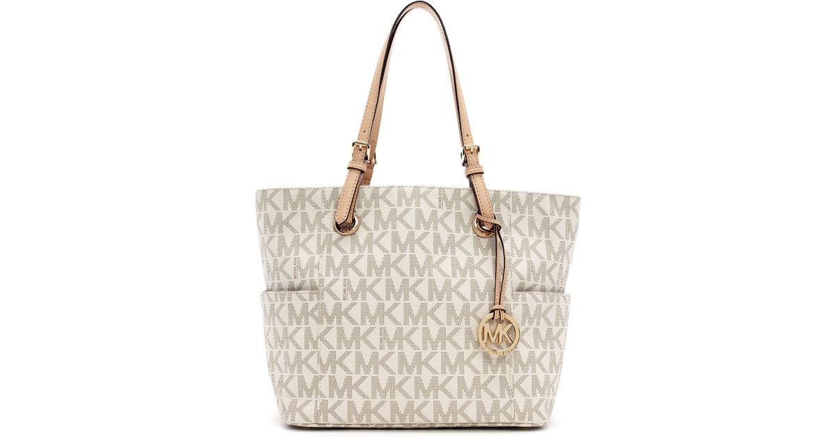 14ae171e47c7 Michael Kors Jet Set Logo Item Tote in Natural - Lyst