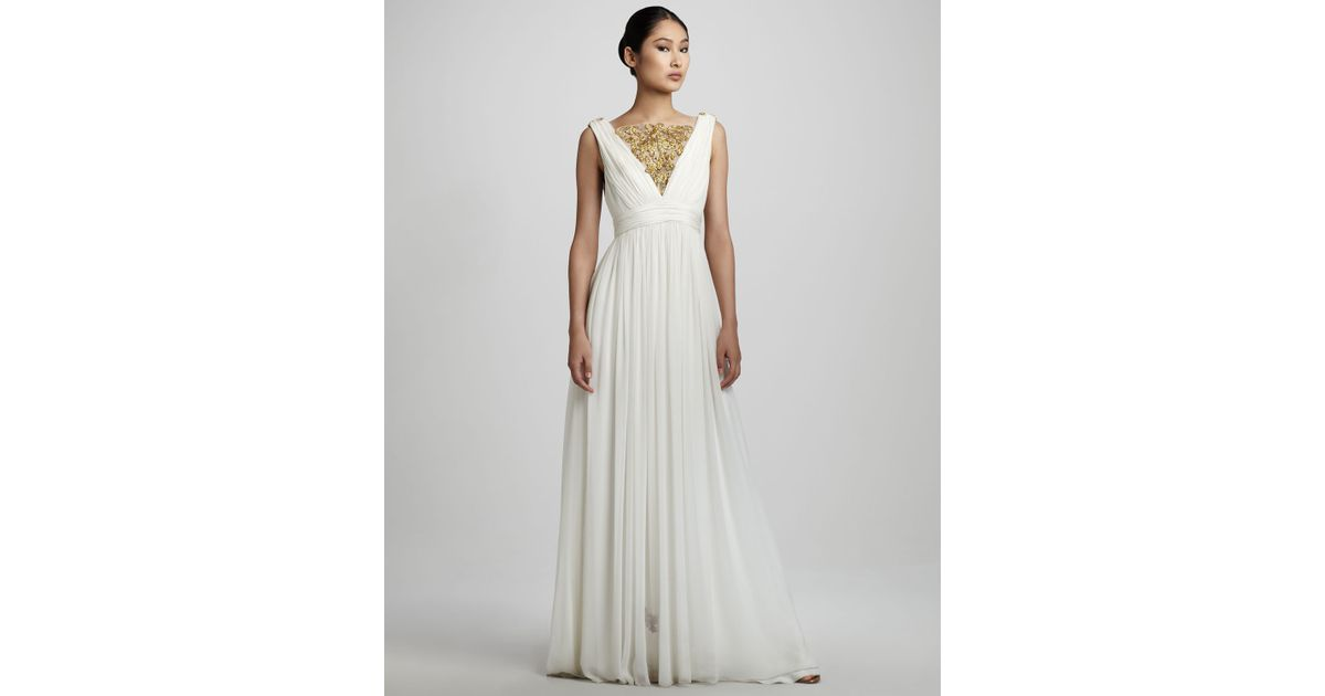 Lyst - Notte By Marchesa Embroidered Grecian Gown in White