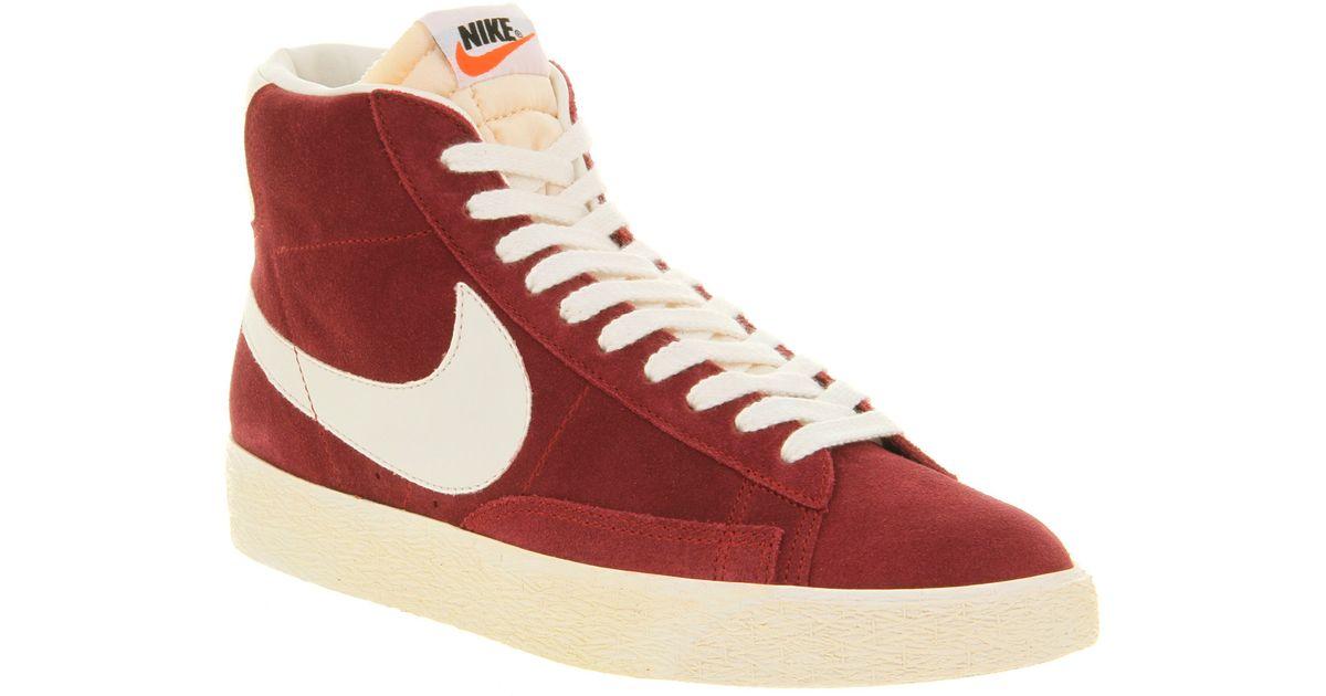 Nike Blazer Rouge Pompes En Daim Hi Cru