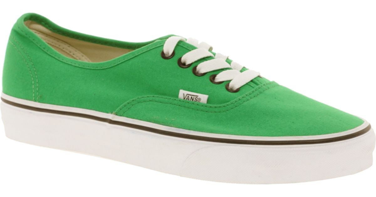 a98c31f4fa781f Lyst - Vans Authentic Classic Green Black Lace Up Trainers in Green
