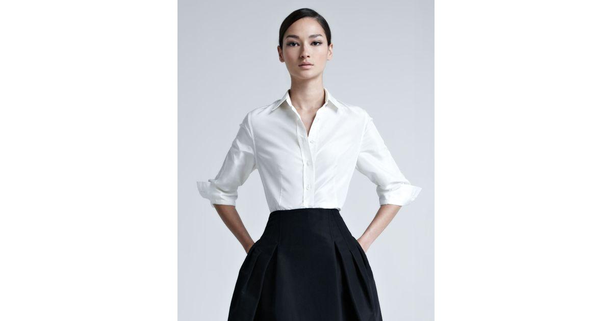 Carolina Herrera Silk Taffeta Shirt In White Lyst