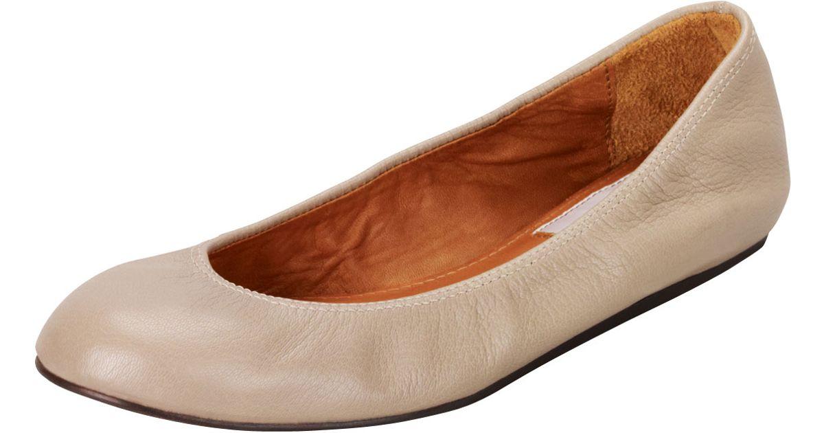 ce8b5c5e6e73 Lyst - Lanvin Goatskin Ballerina Flat Taupe in Natural