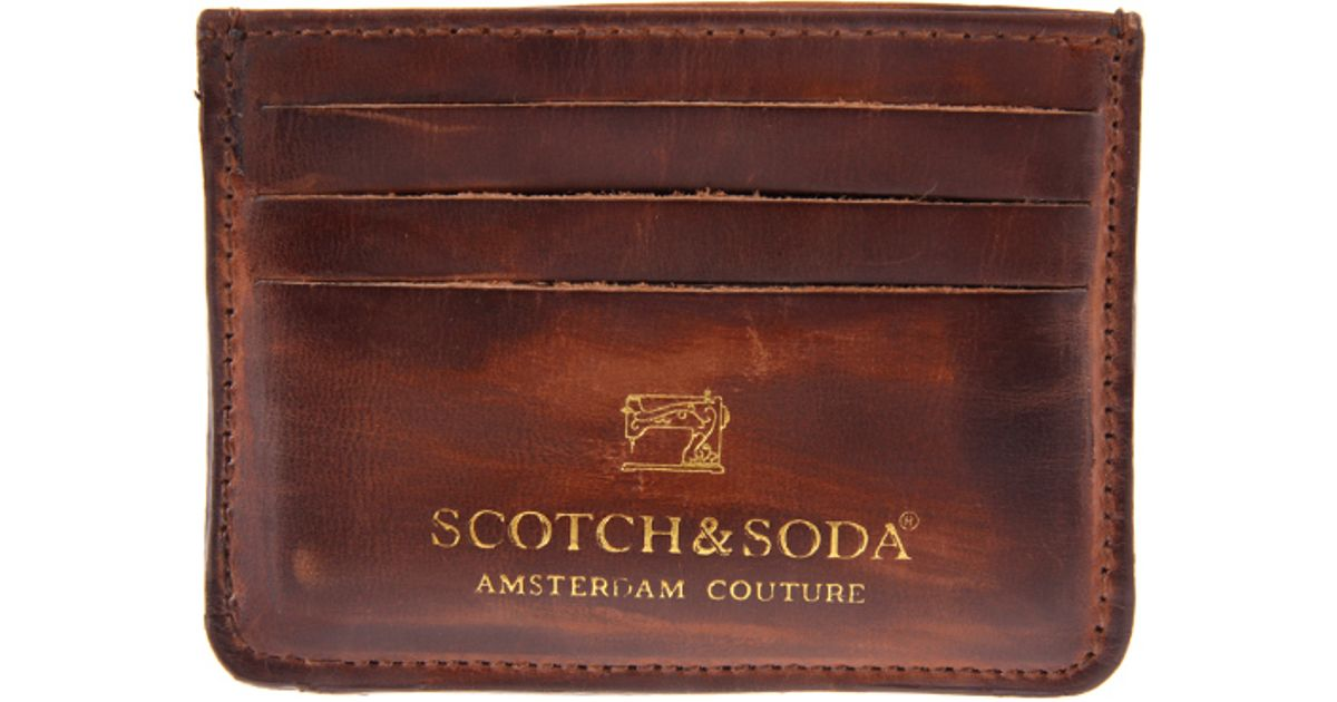 45f0fcaf95b90 Lyst - Scotch   Soda Leather Card Holder in Brown for Men