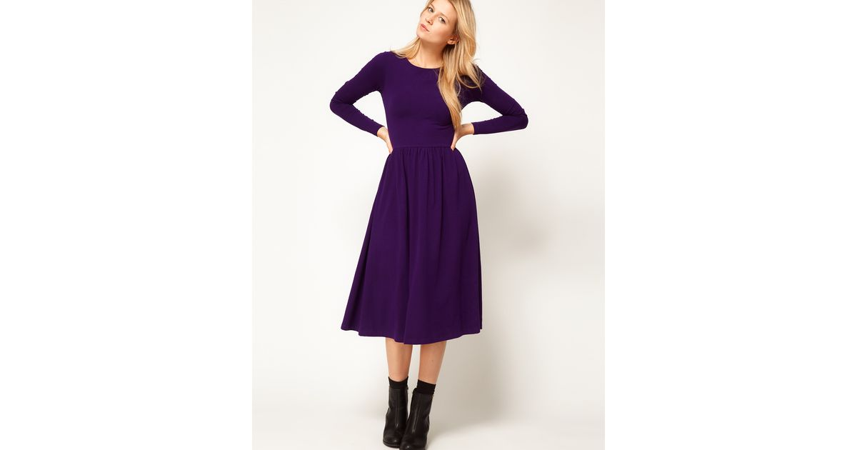 3d4ff52b3580 Lyst - ASOS Collection Midi Dress with Long Sleeve in Purple